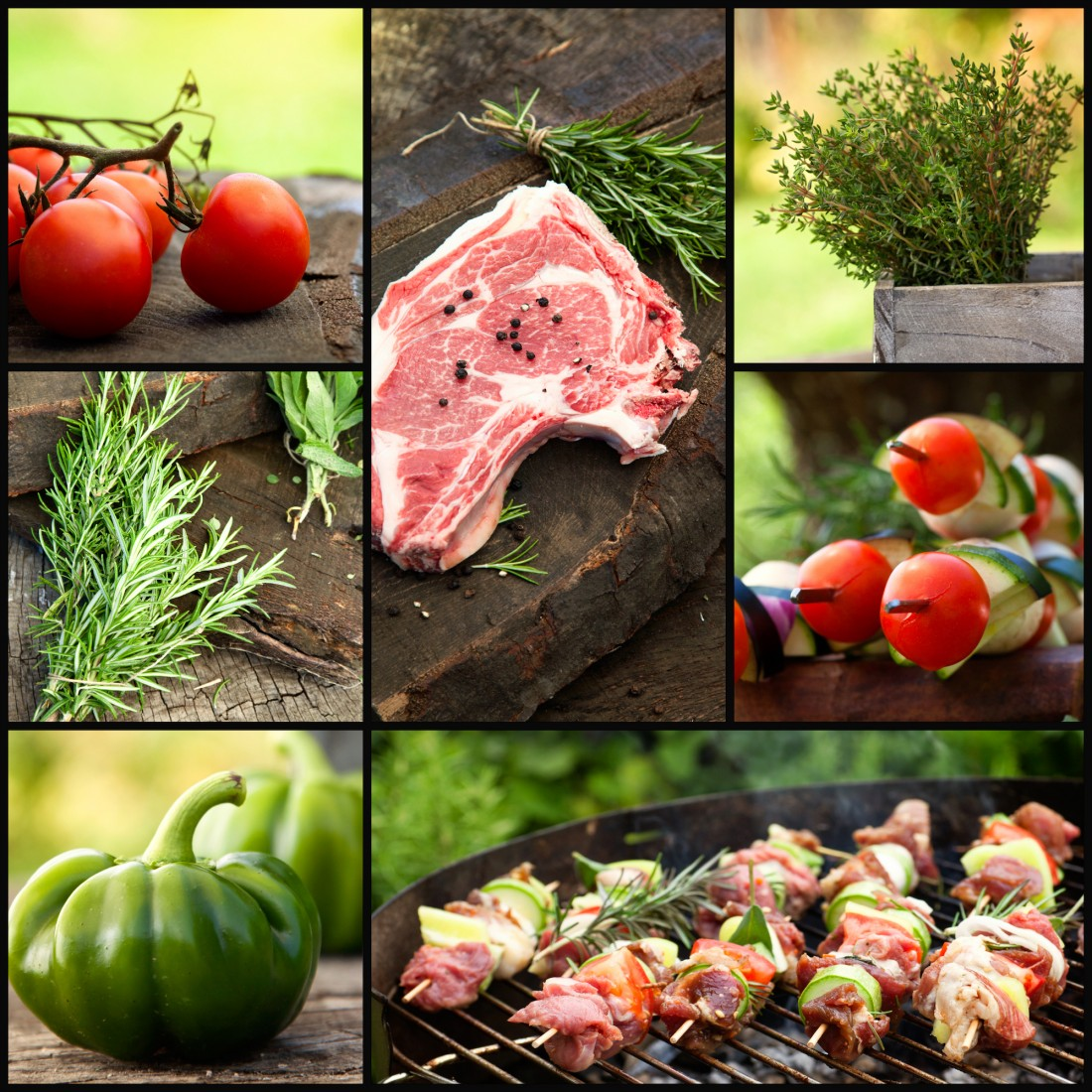 Restaurant series. Barbecue grill food collage. Fresh meat with herbs and vegetables. Grilled meat